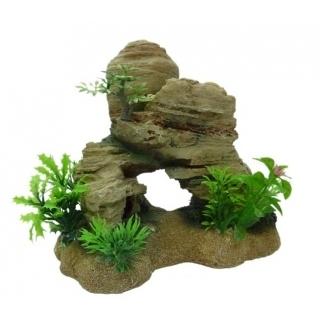 """Грот для аквариума """"Скала светлая с растениями"""""""