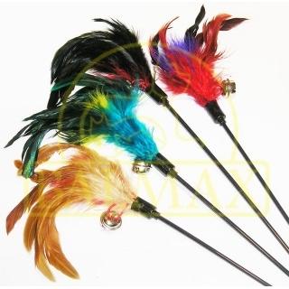 Игровая удочка с перьями и колокольчиком для кошек