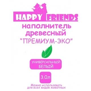 """Наполнитель древесный """"Happy Friends"""" Оптима-Эко, объем 3 л"""
