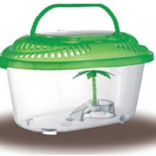 Переноска - террариум с пластиковой крышкой , островком и пальмой